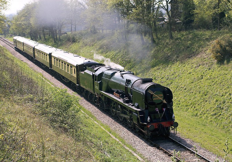 15th Apr 07:  34028 gets well stuck into the climb to the site of West Hoathly station