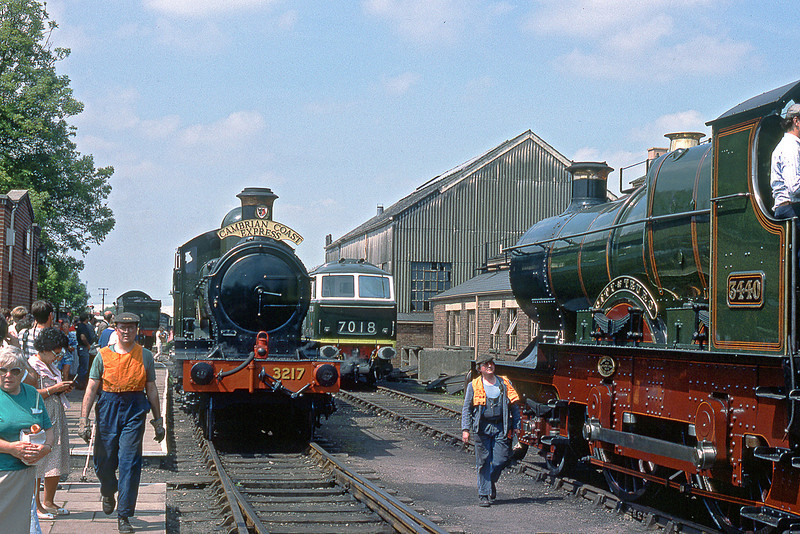 """29th MNay 89:  Two outside framed locos together  at Didcot.  Dukedog 3217 and 3440 """"City of Truro"""""""