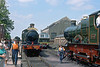 "29th MNay 89:  Two outside framed locos together  at Didcot.  Dukedog 3217 and 3440 ""City of Truro"""