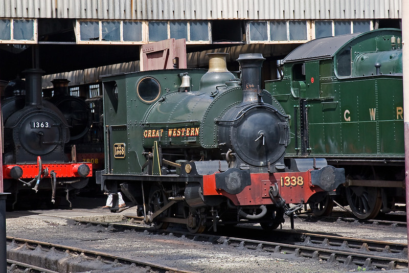10th Aug 08: Built in 1893 by Kitson for the Cardiff Railway, 1338 sits out side the shed