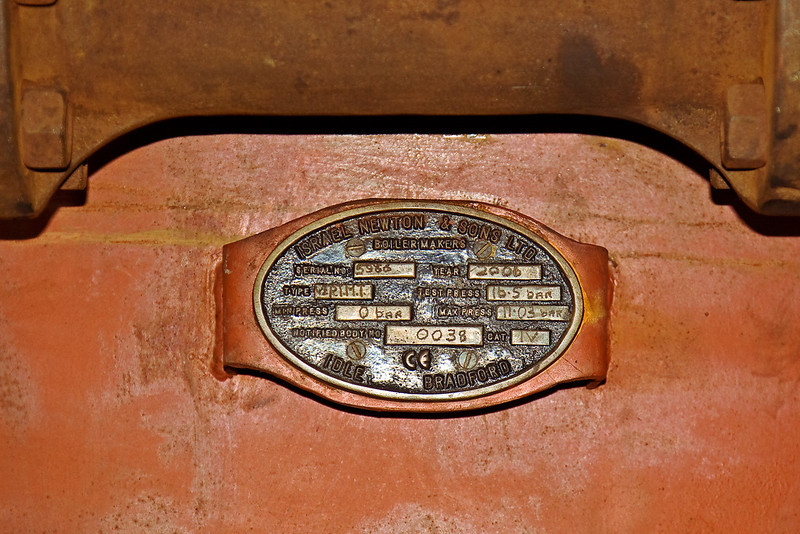 10th Aug 08:  The makers plate on the newly constructed vertical boiler for the Railmotor