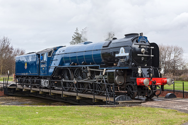 25th Nov 12:  At the official Launch of the BR Blue livery 60163 stands on the Turn Table at Didcot