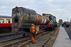 3rd Nov 07:  The boiler from 4079 is very carefully moved on the  Ex Swindon Works boiler trolley