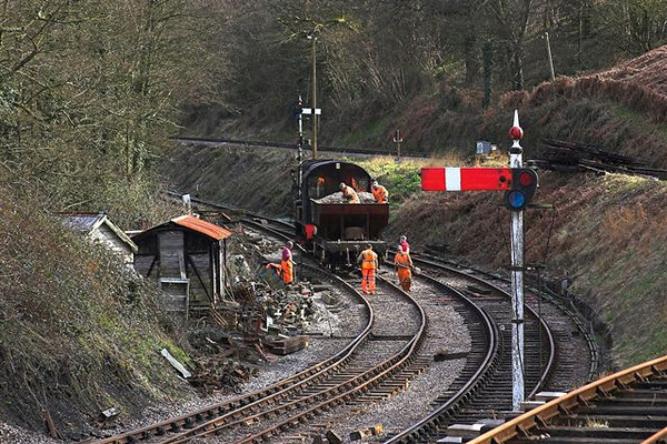 2nd April 06:  Track repairs at the low level station approach
