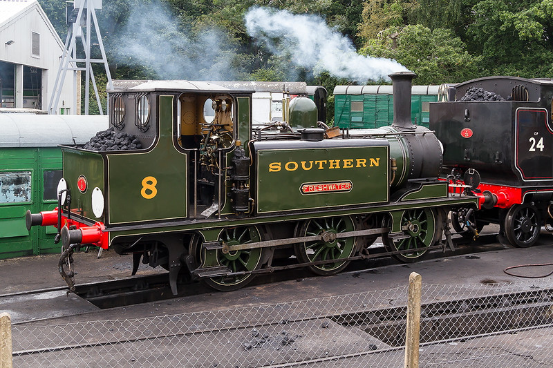 25th Aug 2016.  Being prepared for the Bank Holiday steam Extravaganza is my favourite of the Brighton Terriers ' 8 '.    As  32646 I had the pleasure of a trip down to Hayling Island branch in the early 1960s.  There is a pictute of it in my 1960s Southern steam gallery