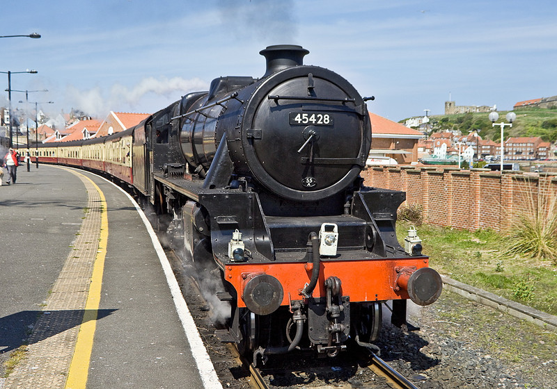 """LMS Black 5 45428 """"Eric Treacy"""" stands at Whitby waiting to depart"""