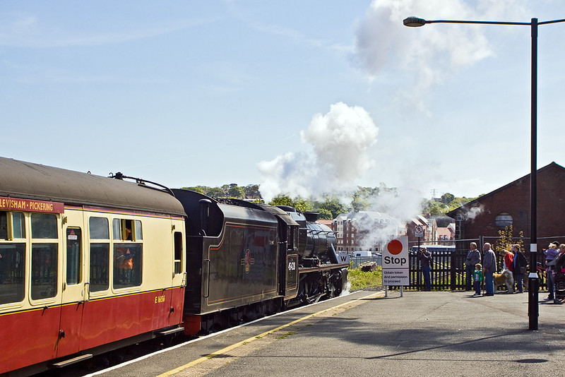 LMS Black 5 45428 departs from Whitby with the 14.00 service to Pickering