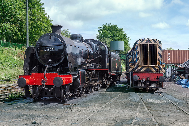 30th Jun 13:  'U' Class 2-6-0 #31806 stand at Ropley in light steam