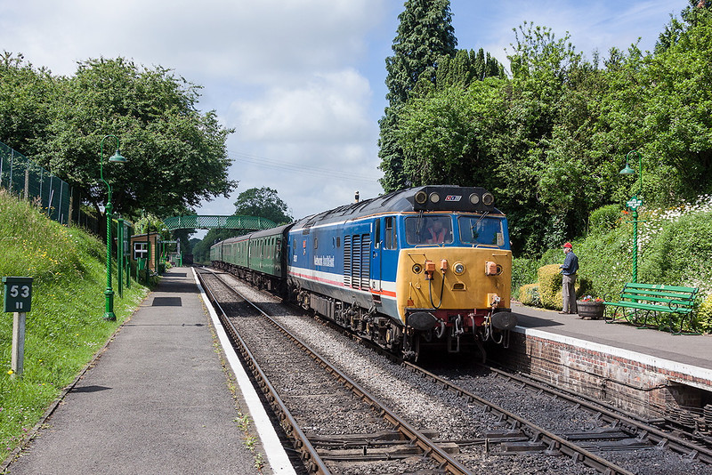 30th Jun 13:  Arriving at Meadsted and Four Marks is 50027 'Lion' working the 11.00 service from Arlesford
