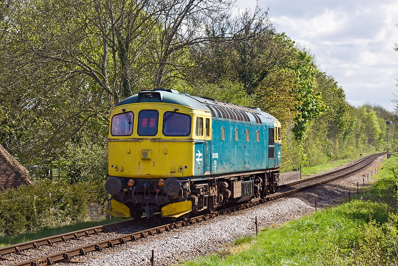 13th May 12:  Crompon 33053 trundles back to Ropley afer an ECS move to Arlesford
