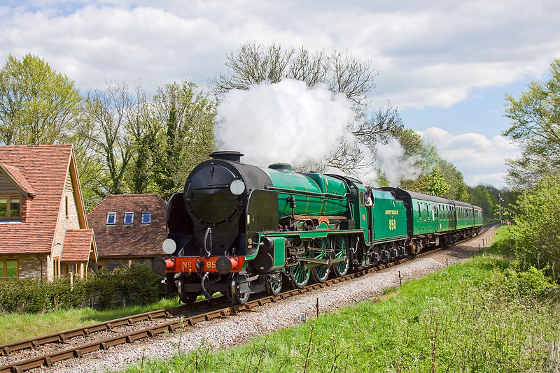 13th May 12:  850 Lord Nelson nears Arleford on the 10.50 from Alton.