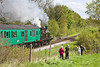 13th May 12:  The 11.30 shuttle from Arlwsford to Ropley is captured about to cross the B3047 on the edge of Arlesford