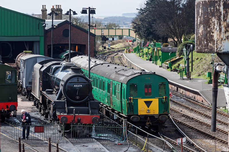 14th Apr 13:  45379 & 1125 from Hogwarts Bridge at Ropley