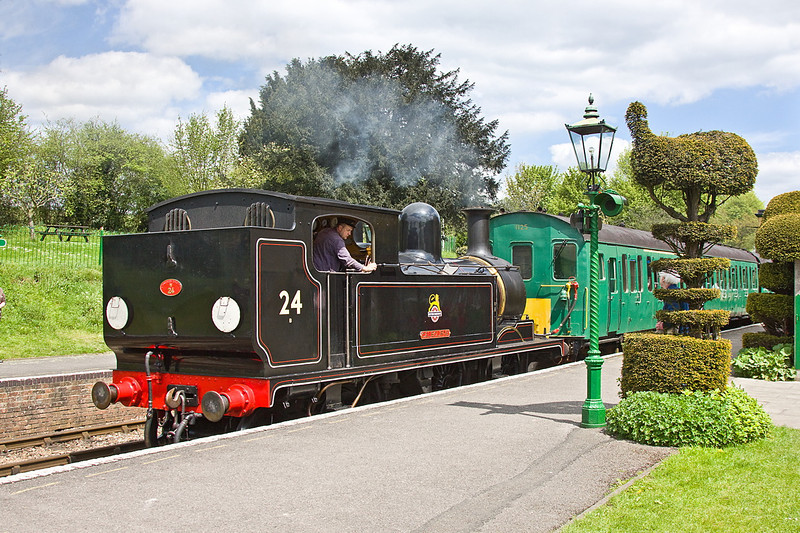 13th May 12:  Just about to depart from Ropley is LSWR  class 02 0-4-4 Tank W24 'Calbourne' on holiday from the Isle of Wight