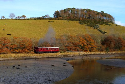 Railmotor 93 works the 2Z45 1320 Looe to Liskeard at Terras crossing, Sandplace in the Looe Valley on the 18th November 2012