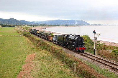 USA 6046 on the 1115 Minehead to Norton Fitzwarren military goods at Blue Anchor during the 1940s weekend on the 16th September 2018