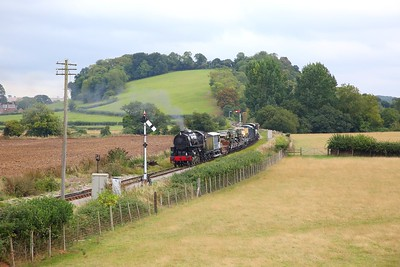 USA 6046 on the 1350 Norton Fitzwarren to Minehead arriving at Williton with a military train during the 1940s weekend on the 16th September 2018 1
