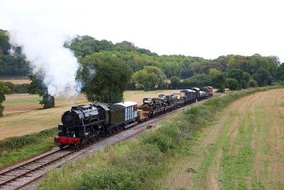 USA 6046 on the 1350 Norton Fitzwarren to Minehead at Longlands bridge shortly after turning on the triangle with a military train during the 1940s weekend on the 16th September 2018