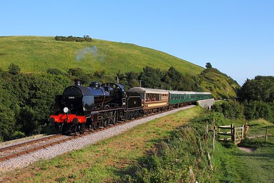 31806 on the 1720 Swanage to Norden approaching Norden on the 27th August 2017