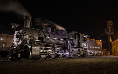 At night in the maintenance yard of the Durango & Silverton.
