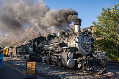 The Durango & Silverton Railway, preserving the route of the old Denver & Rio Grande between the two towns. Here, the 486 builds a head of steam in Durango, Colorado, getting ready to depart with a trainload of passengers on the regular run to Silverton.