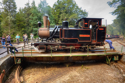 At the end of the line on the West Coast Wilderness Railway, Tasmania, a manually operated turntable.