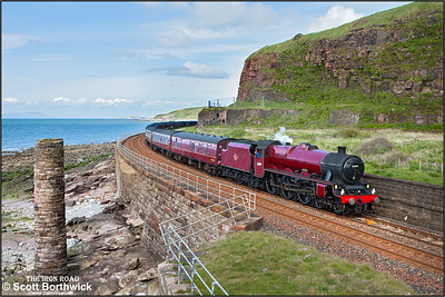 45699 'Galatea' approaches Whitehaven at Redness Point whilst working 1Z86  0709 London Euston--Sellafield on 30/05/2015. 45699 had worked the train forward of 1122 Carnforth D&U.G.L