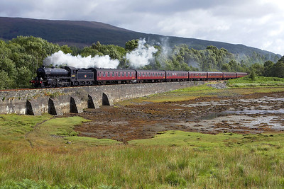 62005 powers 2Y61 1030 Fort William-Mallaig 'The Jacobite' westwards at Fassfern on 29/08/2005.