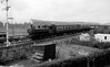 6402 Fitted with push-pull control apparatus for auto-train working approaching Merthyr High Street c1960 Collett 6400 class