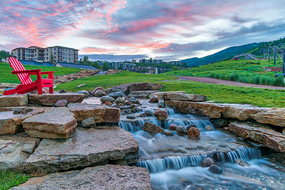 These red adirondack chairs were everywhere along this creek. It is a favorite spot for the children to play in the water and they are provided for the parents to sit and watch their kids.  We took the grandchildren there to play one morning and seeing the creek gave me the idea to come back before sunup to take the image when no one was around!