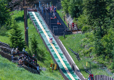 The afternoon on the Fourth of July, they had a ski jump competition from on top of the 75 meter ski jump on Howelsen Hill.    We watched in amazement!  Most of the contestants were anywhere from 12 years old up to 15 to 16!