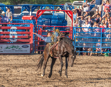 The cowboy continues to hang in there as the horse tries every move in the book to rid itself of the rider!