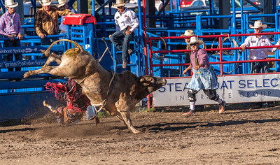 With his grip loosened from the bull rope, the cowboy disembarks from the bull with a thud!