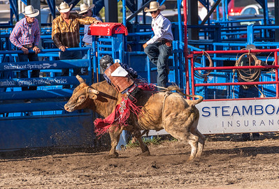 This Cowboy had a problem coming right out of the gate.  The bull made a spin move and threw him to the side!