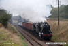 071013-017     A pair of Stanier locomotives, 8f no 48305 and 5MT (black 5) no 45110 are captured passing Woodthorpe with a Loughborough to Rothley brook, hauling a rake of wagons which comprise of the mixed goods set and the 'windcutter' mineral wagons..