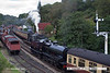 070915-011     A busy scene at Goathland, with Somerset and Dorset 2-8-0 no 53809 arriving with the 11.20 from Pickering, whilst standard 4MT no 75029 is seen heading the other way with the 10.50 from Grosmont. Both trains were timed to depart from Goathland at 12.10.