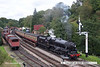 070915-026     LMS 5MT (black 5) 4-6-0 no 45212 is seen pulling away from Goathland with the 12.50 Grosmont to Pickering.