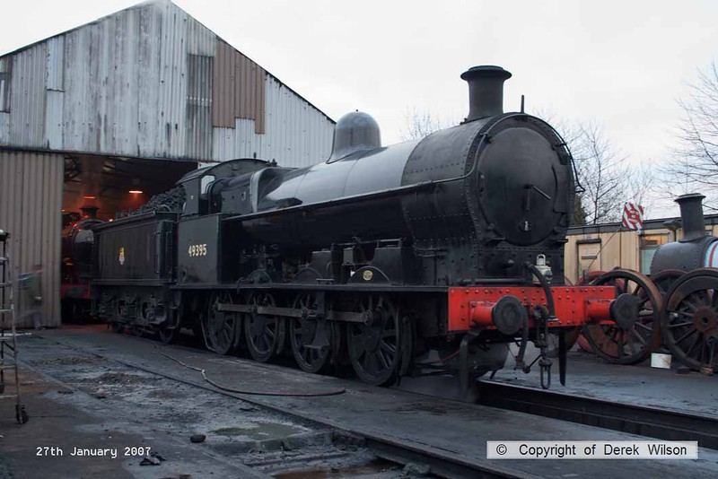 070127-001     LNWR G2 class 7F 0-8-0 no 49395 outside the shed at Loughborough.