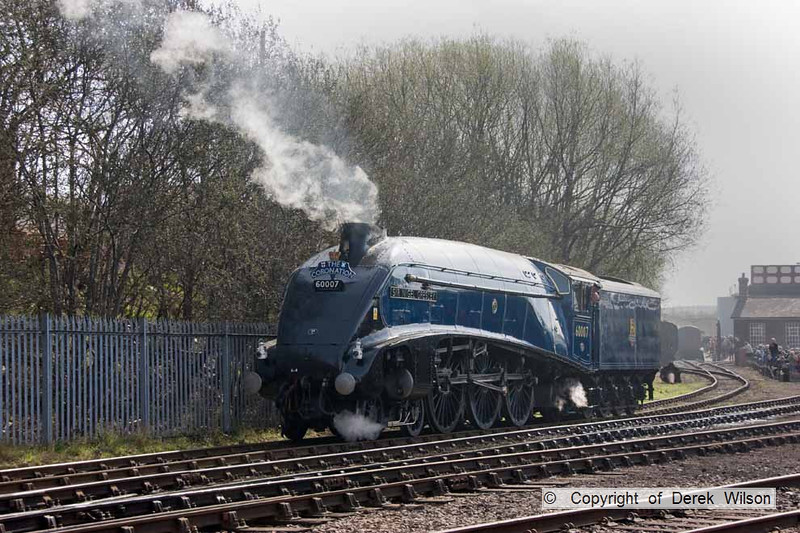090405-015     LNER A4 4-6-2 no. 60007 Sir Nigel Gresley heading to the Barrow Hill Halt for a turn on the passenger shuttle.