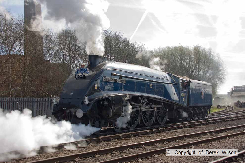 090405-012     LNER A4 4-6-2 no. 60007 Sir Nigel Gresley sets of to the Barrow Hill Halt for a turn on the passenger shuttle.