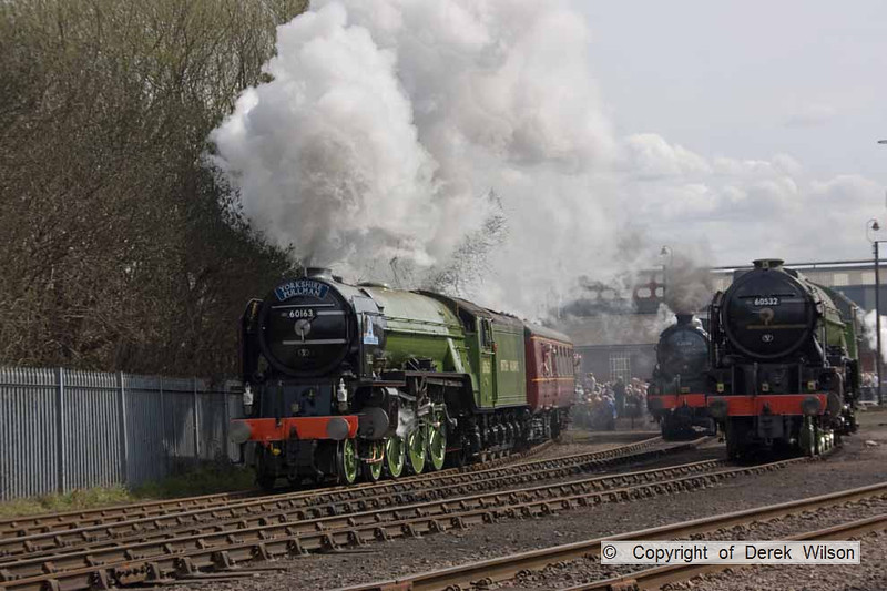 090405-038     LNER A1 4-6-2 no. 60163 Tornado sets off in dramatric fashion with the Barrow Hill passenger shuttle.