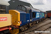 090405-055     DRS class 37 no. 37683 is seen at Barrow Hill, with a fresh coat of 'compass' blue livery. Some months after this picture was taken the loco was moved to Crewe Heritage Centre & as I write this caption, nearly three years later, the loco is still languishing at Crewe having never returned to traffic.