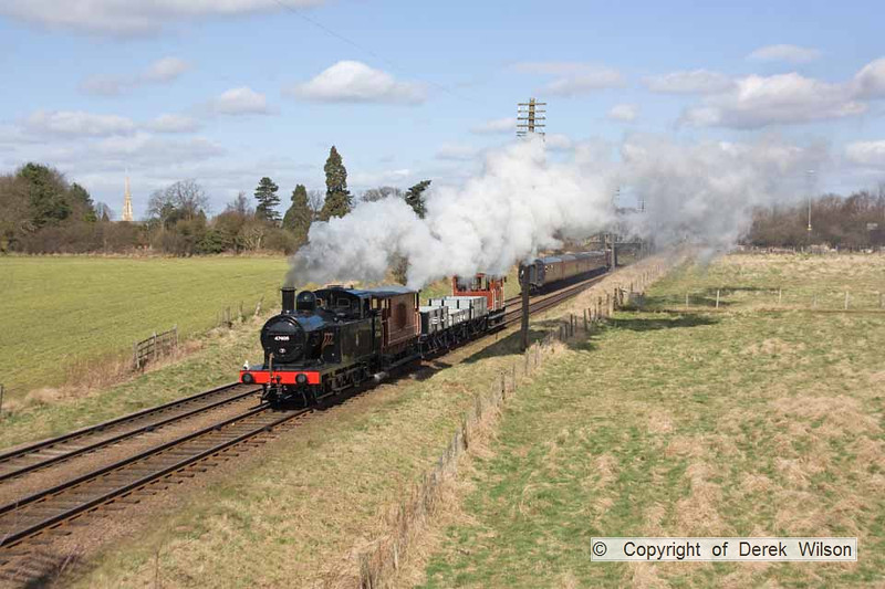 100327-003     LMS 3F 'jinty' 0-6-0T no. 47406, captured passing Woodthorpe with the 09.30 Loughborough - Rothley.