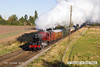 121006-010     LMS 'Stanier' 8F 2-8-0 no. 48624 in red livery, seen approaching Woodthorpe bridge with the 09.45 Loughborough - Leicester North.