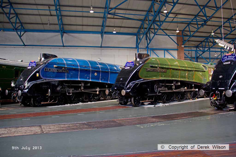 130709-103     LNER A4 4-6-2's no's  (from the left) 60007 Sir Nigel Gresley, 60008 Dwight D Eisenhower & 60009 Union of South Africa. All in their BR identity's & without the valances. Seen at the NRM, York.