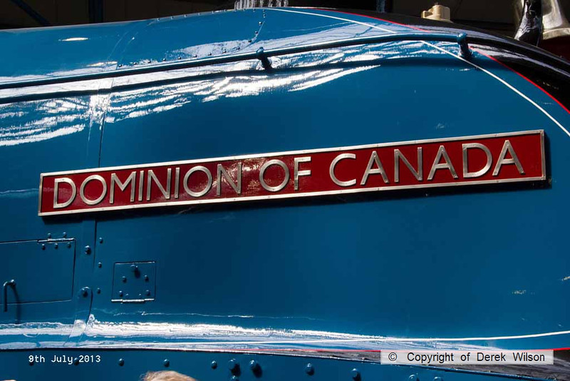 130709-015     Nameplate of LNER A4 4-6-2 no 4489 Dominion of Canada.