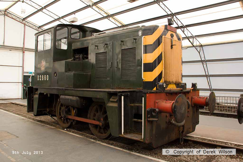 130709-037    BR 0-4-0 diesel shunter no D2860, built by the Yorkshire Engine Co. & became class 02 under 'TOPS' 7 withdrawn in December 1970.