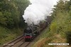 161008-015  BR Standard 9F 2-10-0 no 92214 storms past Charnwood powering a demonstration freight.