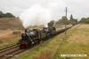 161008-041  A pair of 2MT 2-6-0's are seen passing Woodthorpe, double-heading the 11.15 Loughborough to Leicester North. Leading is BR (LMS) no 46521 with BR Standard no 78018 tucked in behind.
