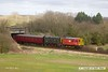 170319-042  Class 08's No's 08907 & D3690 are seen leading the 12:15 Loughborough - Quorn, viewed from the top of the builders spoil heap, as they emerge from under Woodthorpe bridge.